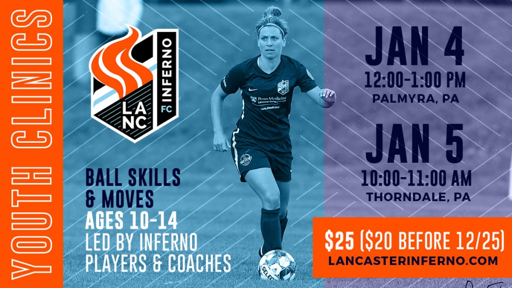 united womens soccer uws lancaster inferno 2020 youth soccer clinics ball skills